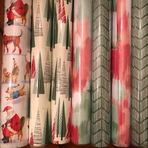 NWT (7) Roll Christmas Wrapping Paper Paper Source